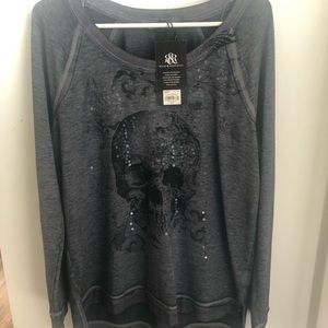 Skull Rock & Republic distressed sweatshirt. NWT